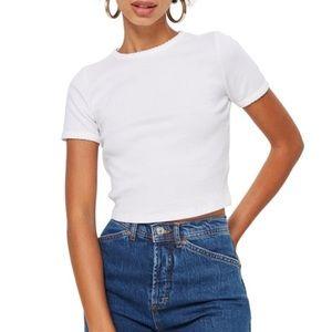 Topshop white shirt sleeve scallop crop shirt 2